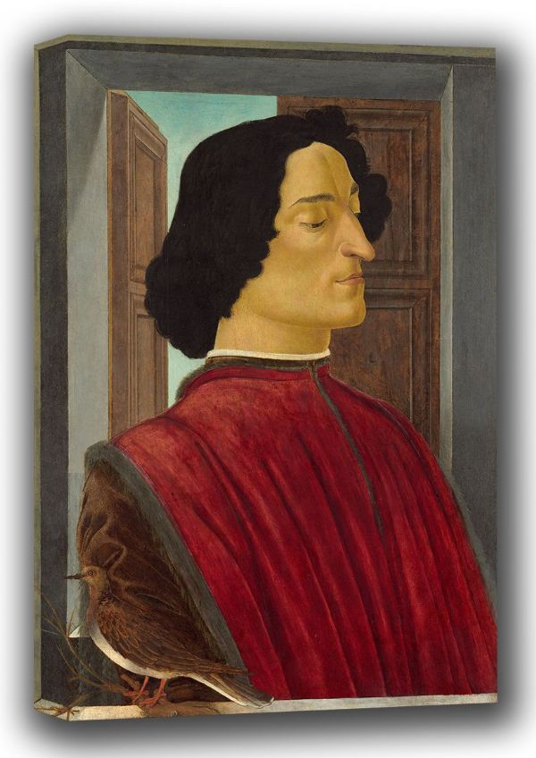 Botticelli, Sandro: Portrait of Giuliano de' Medici. Fine Art Canvas. Sizes: A4/A3/A2/A1 (001894)